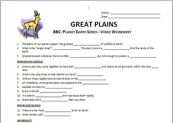 Planet Earth - GREAT PLAINS - Video Questions Worksheet {Editable}
