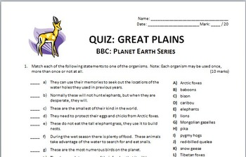 Planet Earth - GREAT PLAINS - Video Quiz {Editable}