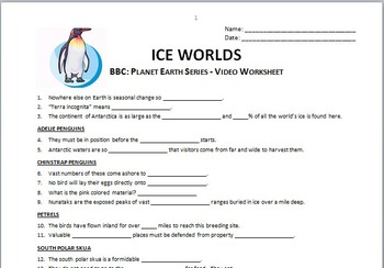 planet earth ice worlds video questions worksheet editable. Black Bedroom Furniture Sets. Home Design Ideas