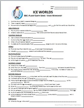 Planet Earth - ICE WORLDS - Video Questions Worksheet {Editable}