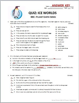 Planet Earth - ICE WORLDS - Video Quiz {Editable}
