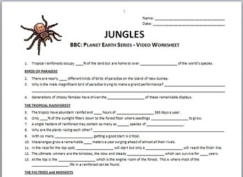 Planet Earth - JUNGLES - Video Questions Worksheet {Editable}