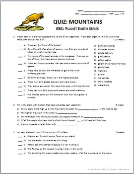 Planet Earth - MOUNTAINS - Video Questions & Quiz Combo {Editable}