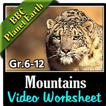 Planet Earth - MOUNTAINS - Video Questions Worksheet {Editable}