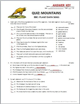 Planet Earth - MOUNTAINS - Video Quiz {Editable}