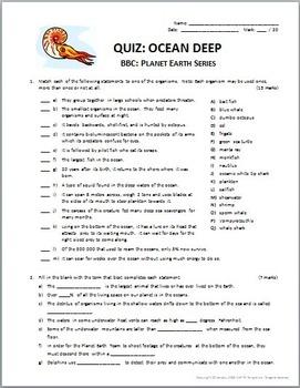 Planet Earth - OCEAN DEEP - Video Questions & Quiz Combo ...