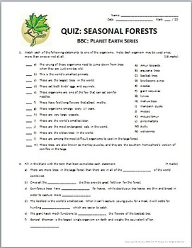 Planet Earth - SEASONAL FORESTS - Video Questions & Quiz Combo {Editable}