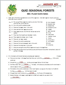 Planet Earth - SEASONAL FORESTS - Video Quiz {Editable}