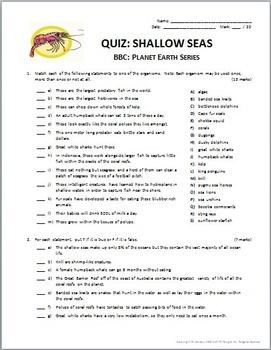 Planet Earth - SHALLOW SEAS - Video Questions & Quiz Combo {Editable}