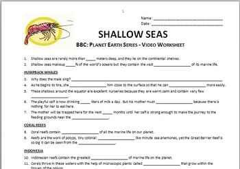 Planet Earth - SHALLOW SEAS - Video Questions Worksheet {Editable}