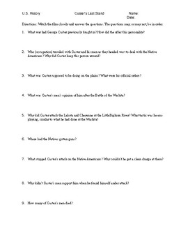 BBC The Wild West - Custer's Last Stand Video Worksheet