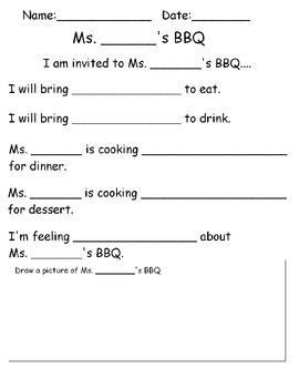 "BBQ Adapted ""Mad Lib"" Book"