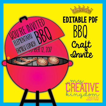 bbq barbecue invite card craft by miss mandy tpt
