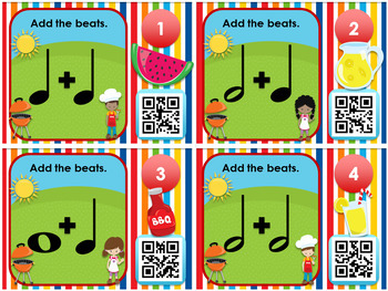 BBQ Beats - Notes and Rests QR Code Task Cards