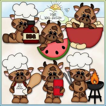 BBQ Beef 1 - CU Clip Art & B&W Set
