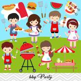 BBQ Clipart, Boys Barbecue Clip Art, Girls BBQ Clipart, 0248