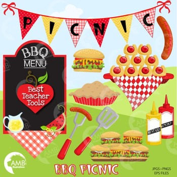 BBQ Clipart and Digital Papers, Barbecue Clipart, {Best Teacher Tools} AMB-1727