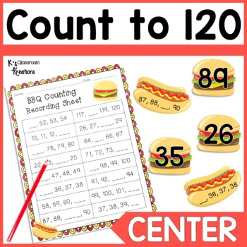 Counting to 120 Math Center BBQ Theme
