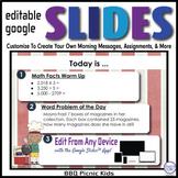BBQ Kids Editable GOOGLE SLIDES 4 Morning Messages, Task C