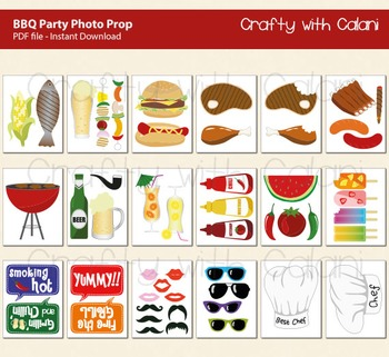 BBQ Party Photo Booth Prop, Summer BBQ Photo Booth Prop, 43 ready print images
