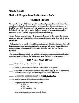 Rates & Proportions BBQ Performance Assessment