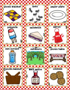 BBQ Picnic Vocabulary Bingo