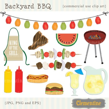 BBQ clip art images with vector Eps, picnic clip art, barb