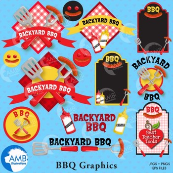 BBQ clipart, Barbecue Clipart, Picnic clipart, Frames, and Banners, AMB-911
