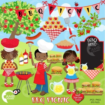 BBQ Clipart, Barbecue Clipart, Picnic clipart, African American Clipart, AMB-920