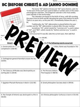 BC AD Worksheet