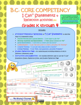 """BC CORE COMPETENCIES """"I Can"""" Statements REFLECTION strips & journal - PRIMARY"""