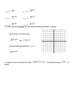 BC Calculus Limits Test
