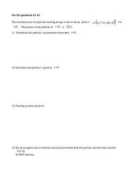 BC Calculus- Polar, Vector and Parametrics
