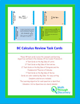 BC Calculus Review Task Cards