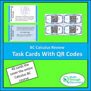 Calculus:  BC Calculus Review Task Cards with QR Codes