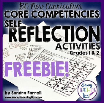 BC New Curriculum Core Competencies Self-Reflection Freebie