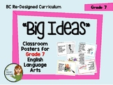 BC New Curriculum - Big Ideas Posters - Grade 7 English Language Arts