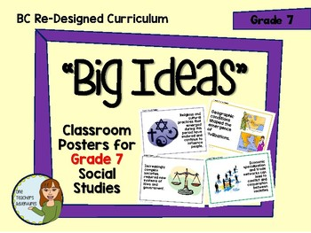 BC Redesigned Curriculum - Big Ideas Posters - Grade 7 Social Studies