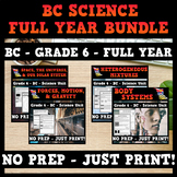 BC Science Grade 6 Bundle - Space, Forces/Motion, Mixtures, and Body Systems
