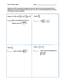 Calculus Series Worksheets & Teaching Resources | TpT
