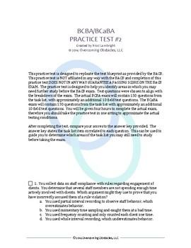 BCBA/BCaBA Certification Exam Practice Test version 2