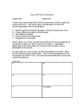 BCBA Supervison Goal Setting Worksheet