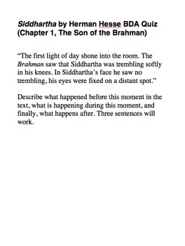 BDA Quizzes for Herman Hesse's Siddhartha (All 12 Chapters)