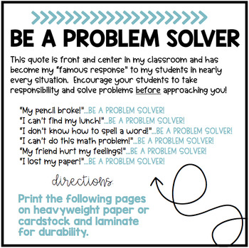 BE A PROBLEM SOLVER Classroom Quote Display