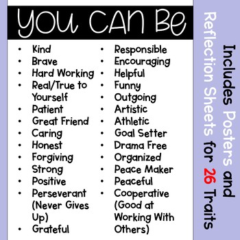 BE Bulletin Board With Positive Character Traits