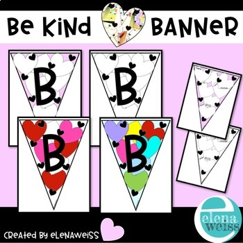 BE KIND banner and writing activity