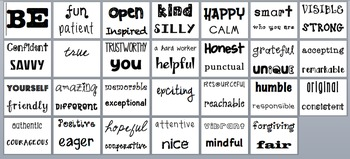 """""""BE"""" Positive Character Traits Word Wall"""