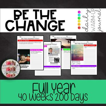 BE THE CHANGE DAILY WARM UP ACTIVITY JOURNAL character traits itsanewyeardeals