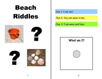 BEACH BOOKS, Adapted, Riddles and Matching, SPEECH THERAPY, Autism, Vocabulary