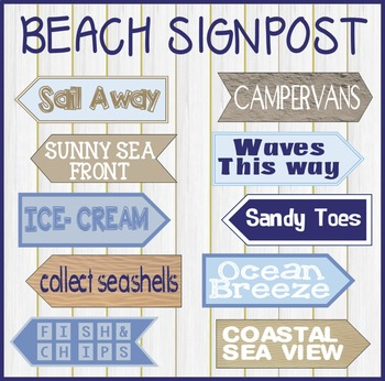 BEACH SIGNPOST - DISPLAY SEASIDE SUMMER COAST OCEAN SEA ROLE PLAY